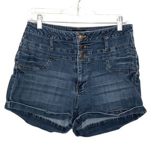 Refuge button fly high waist denim shorts - 683